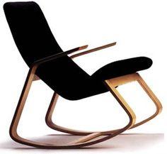 Ralph Rapson Rapid Rocking Chair in Black on Maple Rocker Stylish Chairs, Cool Chairs, Modern Chairs, Bauhaus Furniture, Cool Furniture, Antique Furniture, Modern Furniture, Wood Chair Design, Bauhaus Design