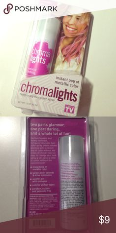 Chromalights fuchsia temporary hair color pink New in packaging temporary hair color spray see pictures for any info on product. Chromalights Makeup Brushes & Tools