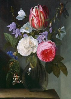 Roses And A Tulip In A Glass Vase by Jan Philips van Thielen