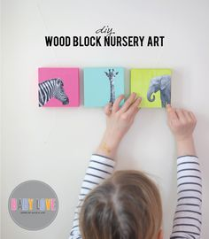 Here's a simple, modern DIY project to create custom painted wood block art for your little one's room. Give this DIY Painted Wood Block Nursery Art a try!