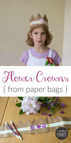 How to make simple flower crowns for kids with paper bags, duct tape, and fresh flowers. A fun craft that doubles as a pretend play accessory!
