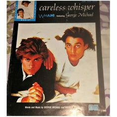 Vintage George Michael CARELESS WHISPER WHAM! Sheet Music Poster 80s... ($35) ❤ liked on Polyvore featuring home, home decor, music sheet, music home decor and music themed home decor