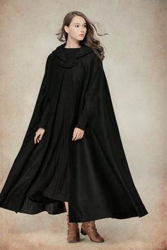 Maxi Hooded Cape Cloak Wool Cape Wool Blazer Wool Jacket In Hooded Wool Coat, Hooded Cloak, Long Wool Coat, Wool Poncho, Wool Cape, Hooded Jacket, Winter Cloak, Winter Cape, Black Winter Coat