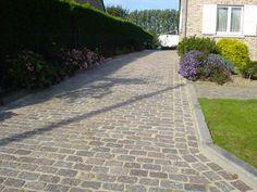 Pavés granit de Paris ; Format 15x20x15 ; Aménagement d'une entrée en pavés carrossables ; Réf : PP01