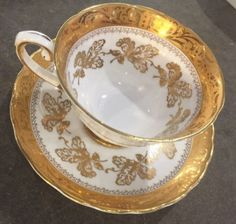 TUSCAN-Bone-China-TEA-CUP-and-SAUCER-Gold-Leaves-Pattern-Rim-Nice