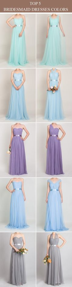 long tulle bridesmaid dresses in mint blue, light sky blue, purple, periwinkle and grey