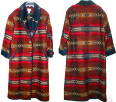 Womens BOLD COLORS Pendleton High Grade Western Wear Indian Blanket Long Coat