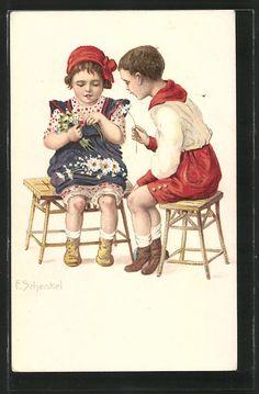 Künstler-AK Franziska Schenkel: Junge schenkt einem Mädchen Blumen 0