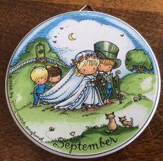"Vtg 1966 Joan Walsh Anglund 3"" Ornament September Month Wedding Wishing Well Cat   eBay"