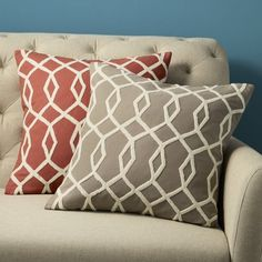 embroidered diamond links pillow cover in stone.  I'm thinking two of these with two solid yellow ones to go with my color scheme...