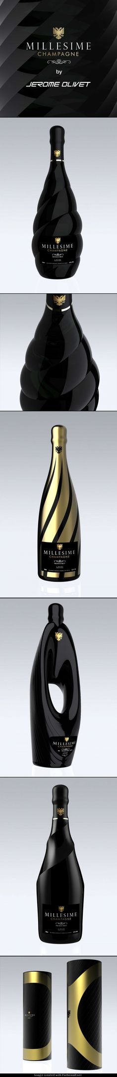 Millesime, exclusive champagne bottles with a futuristic design | designed by Jerome Olivet via Dieline PD