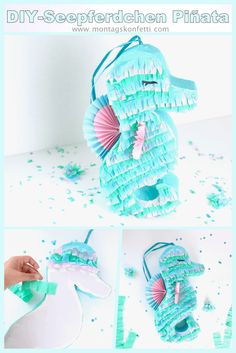 DIY seahorse # Piñata for a successful party Birthday Pinata, Horse Birthday Parties, Mermaid Birthday, Diy Birthday, Birthday Gifts, Mermaid Pinata, Mermaid Diy, Diy Piñata, Easy Diy