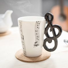 Clef Handle Novelty Mug Cup Coffee Tea Music Instrument Notes Ceramic Gift Novelty Mugs, Novelty Gifts, Mug Cup, Music Instruments, Shapes, Coffee, Tableware, Shopping, Music Guitar