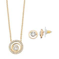 Dana Buchman Circle Necklace & Stud Earring Set ($15) ❤ liked on Polyvore featuring jewelry, earrings, gold, circle jewelry, nickel free jewelry, dana buchman jewelry, swarovski crystal earrings and dana buchman