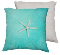 Starfish 18x18 pillow turquoise home decor by VintageChicImages, $40.00