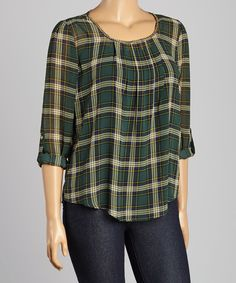 Look at this Green Plaid Roll-Tab Sleeve Top - Plus on #zulily today!