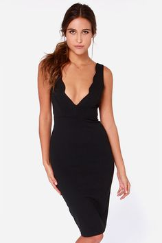 LULUS Exclusive Work of Heart Midi Black Bodycon Dress at Lulus.com!