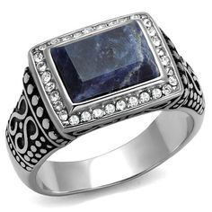 Men's Blue Sodalite Russian Lab Diamond & Stainless Steel Wedding Band Ring