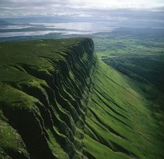 Ben Bulbin, Ireland-legend of Diarmuid and Gráinne.  According to the tale, Diarmuid died on the side of this mountain after being injured by a wild bore. A cave on its peak houses his final resting place. Grainne died of a broken heart soon after and her body was placed with that of her lover