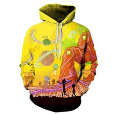 UIDEAZONE 2017 New arrive Rick and Morty Alien Printed Hoodies Pullover Hoodie Trippy Planet Artwork Sweatshirt Plus Size Hoodie Sweatshirts, Hoody, Rick Und Morty, Swagg, Casual, Clothes, 3d, Fashion Spring, Style Fashion