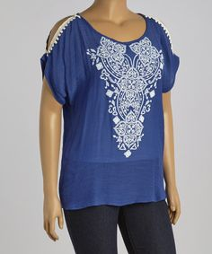Look what I found on #zulily! Blue Embroidered-Trim Cutout Top - Plus #zulilyfinds