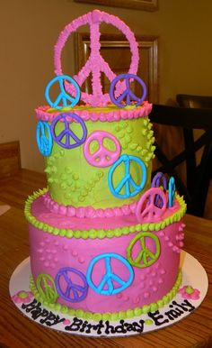 Kelly Roberts Designs: Peace Sign Birthday Cake