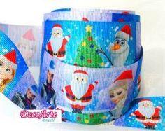 Fita gorgurão Frozen Natal - 38mmx1