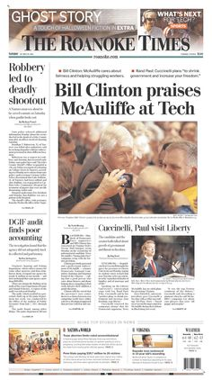 The Roanoke Times front page: Oct. 29, 2013. Sign up for a digital subscription at roanoke.com/subscribe.
