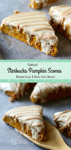 Copycat Starbucks Pumpkin Scones recipe has a bourbon glaze and a maple spice drizzle. Beautiful and delicious! From RestlessChipotle.com via @Marye at Restless Chipotle