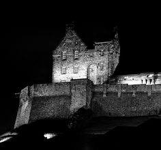 Edinburgh Castle at night in black and white. Photo By Neil Roger.