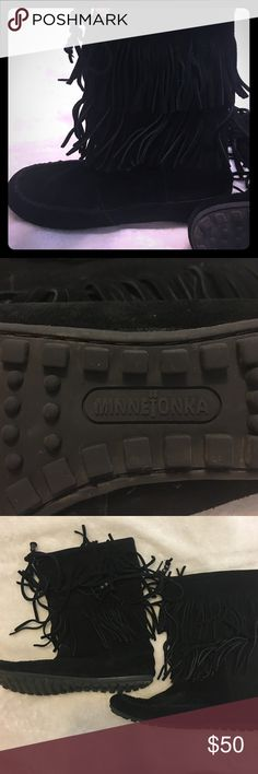 Minnetonka black fringe leather boots Lightly used black leather Minnetonka boots. Worn a few times at a festival. In good condition. Minnetonka Shoes