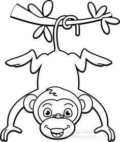 Coloring Pages Jungle Animals Unique Monkey Black White Clipart Train Coloring Pages, Dog Coloring Page, Animal Coloring Pages, Black And White Drawing, Black And White Pictures, Black White, Butterfly Pictures To Color, Jungle Animals Pictures, Cartoon Template