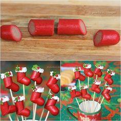 Hotdog Christmas Stockings - Creative Christmas Food Ideas.