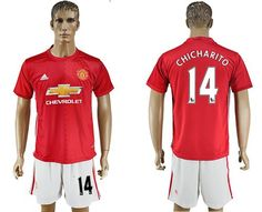 Manchester United #14 #Chicharito Red Home Soccer Club Jersey England #France #Euro #soccer #Football #Azzurri