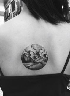 Got this done by Bram Adey! Love it :) [circle mountain scenery valley landscape tattoo] Circle Tattoos, Side Tattoos, Tattoos For Guys, Cool Tattoos, Tattoo Side, Arm Tattoo, Sleeve Tattoos, Venus Tattoo, Landscape Tattoo