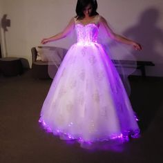 A touch of color wonder to your special day by walking down the aisles in this stunning Fiber Optic LED Light Up dress💕 Bling Prom Dresses, Pretty Quinceanera Dresses, Fall Wedding Dresses, Pretty Dresses, Beautiful Dresses, Wedding Gowns, Girls Pageant Dresses, Colored Wedding Dresses, Quince Dresses