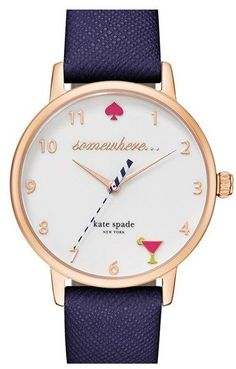 Absolutely love these colors! Kate Spade New York 'metro - Somewhere' Leather Strap Watch, 34mm