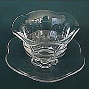Duncan Miller Glass Canterbury Pattern Mayonnaise - Relish - Serving Set - Bowl with Under Plate