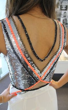 Neon, Sequins, and a Cut Out Back