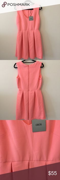 NWT ASOS Pink Sleeveless Pleated Skater Dress New with tags ASOS dress with a gorgeous peachy pink color and is sleeveless. Zipper closure and is made from soft stretchy material. Size 8! ASOS Dresses Midi