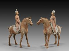 Pair of large and finely modeled, Chinese early Tang Dynasty, painted pottery equestrians: each horse standing with mouth agape and fancy tied tail, each carrying a separate court lady rider on their saddle, and each with some original slip remaining Terracota, Painted Pottery, Pottery Painting, Asian Sculptures, Equestrian Statue, Horse Sculpture, China Art, Ancient China, Equine Art