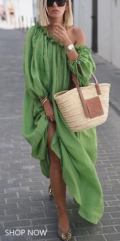 Casual Dress - Classy off-shoulder pure colour long sleeve dress, fashion casual style and comfortable material yo - Casual Mode, Classy Casual, Classy Dress, Classy Outfits, Elegant Dresses, Casual Dresses, Fashion Dresses, Maxi Dresses, Long Dresses