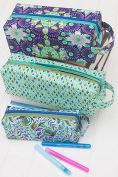 Annex Double-Zip Box Pouches PDF sewing by SewSweetnessPatterns