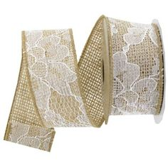 This burlap ribbon with white lace overlay makes it easy to embellish crafting projects. | Shop Hobby Lobby
