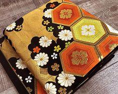 """Obi Fair K102909 Beautiful Black """"Kikko"""" Obi Kimono Belt Fukuroobi Vintage"""