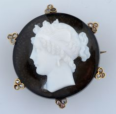 Agate (Black Onyx) Carved Cameo & Diamonds for auction. Victorian hand made brooch & pendant carved agate cameo with diamonds. Black Onyx, Agate, Diamonds, Auction, Carving, Canada, Pendant, Wood Carvings, Pendants
