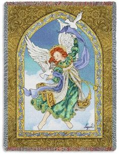 Personalized Peaceful Angel Tapestry Throw