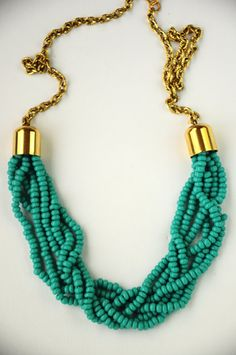 Turquoise Necklace - could make an all braided one myself...