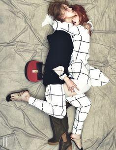 Windowpane/grid print -- W Korea August 2014 #style #fashion #editorial