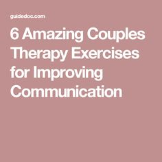 Couples Therapy Exercises for Communication. What we found to be the best couples therapy exercises to create a more emotionally fulfilling relationship. Fixing Relationships, Relationship Therapy, Communication Relationship, Improve Communication, Healthy Relationships, Relationship Building, Relationship Tips, Marriage Help, Healthy Marriage